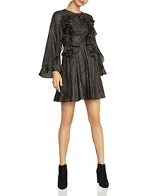 BCBGMAXAZRIA - Ruffled Metallic-Stripe Dress