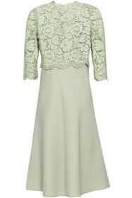 VALENTINO Corded lace-paneled wool and silk-blend