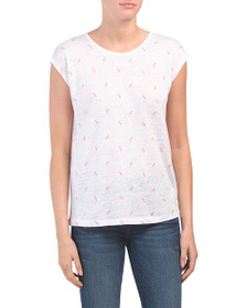 C&C CALIFORNIA Flamingo Print Linen T-shirt
