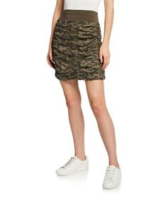 XCVI Camo Trace Ruched Skirt