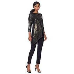 Slinky® Brand 2-piece 3/4-Sleeve Sparkle Tunic and