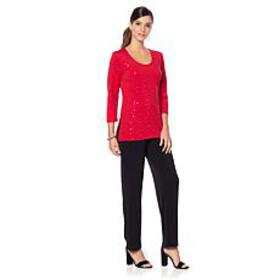 Slinky® Brand 2pc 3/4-Sleeve Sparkle Tunic and Sol