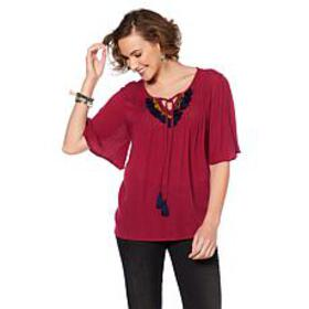 B Collection by Bobeau Boho Blouse with Tassel Tri
