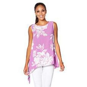 DG2 by Diane Gilman Sleeveless Floral Asymmetric T