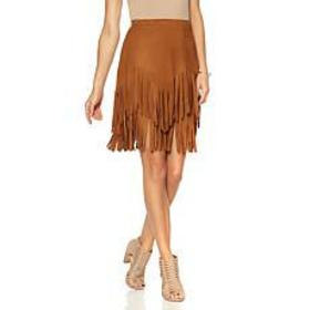 Sheryl Crow Faux Suede Fringe Skirt