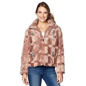 Colleen Lopez Lush & Luxe Embellished Faux Fur Coa