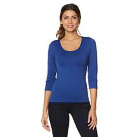 Rhonda Shear 3/4 Sleeve Seamless Tee with Shelf Br