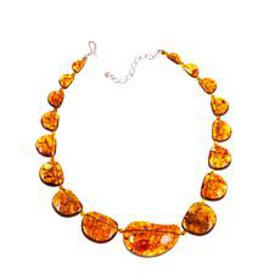 "Jay King Amber Station 19-1/4"" Sterling Silver Nec"