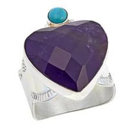 Jay King Amethyst and Andean Blue Turquoise Heart