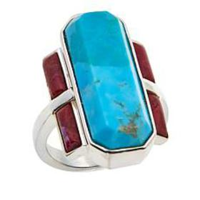 Jay King Kingman Turquoise and Kandy Apple Coral S