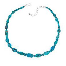 """Jay King Andean Blue Turquoise Bead 18-1/4"""" Sterli"""