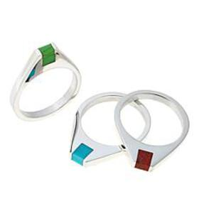 Jay King Multi Turquoise and Coral Sterling Silver