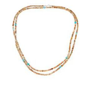 """Jay King Sunstone and Amazonite Bead 60"""" Sterling"""