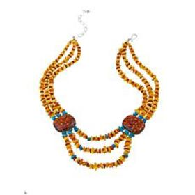 """Jay King 3-Strand Amber and Turquoise 18-1/4"""" Ster"""