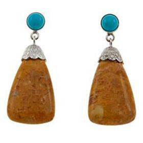 Jay King Yellow Alunite and Turquoise Drop Sterlin