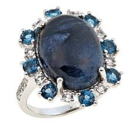 Sterling Silver Pietersite, London Blue Topaz and