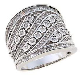 0.75ctw White Diamond Sterling Silver Cigar Band R