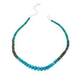 """Jay King Mongolian Turquoise Bead 18-1/4"""" Sterling"""