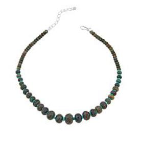 Jay King Green Diopside and Turquoise Bead 18-1/4""