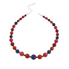 """Jay King Multicolor Coral and Lapis Bead 18"""" Sterl"""