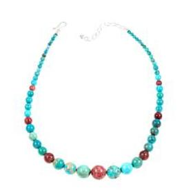 "Jay King Turquoise and Pink Thulite 18-1/4"" Neckla"