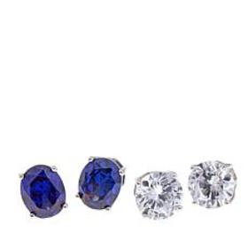 Absolute™ Cubic Zirconia Blue and Clear Oval and R