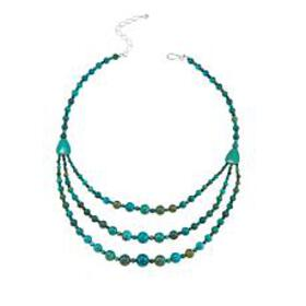 "Jay King Layered Turquoise Bead 18"" Sterling Silve"