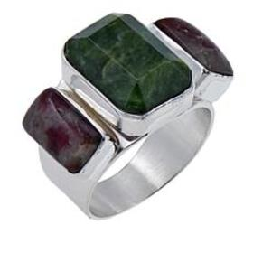 Jay King Dark Green Opal and Tourmaline Sterling S