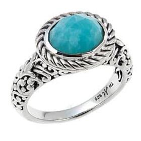 Bali Designs Oval Amazonite Scrollwork Cable Ring