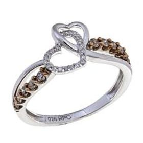 0.25ctw White and Champagne Diamond Double Heart R