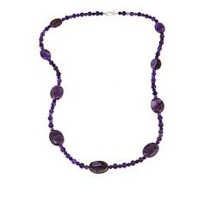 "Jay King Amethyst Bead 36"" Sterling Silver Necklac"