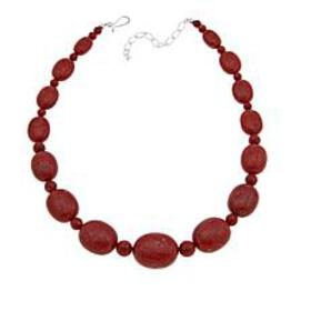 "Jay King Red Coral Bead 18"" Sterling Silver Neckla"