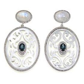 Rarities Carved Mother of Pearl and Gem Drop Earri