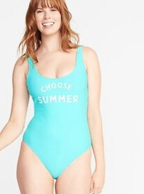 Graphic Scoop-Back Swimsuit for Women