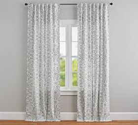 Pottery Barn Selby Tile Curtain - Set of 2 - Gray