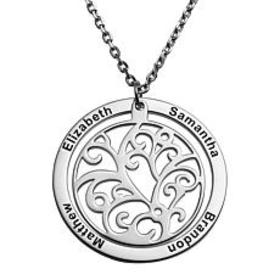 Sterling Silver Engraved Family Name Filigree Disc