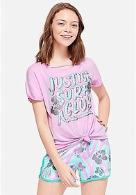 Justice Surf Sparkle Knot-Front Tee