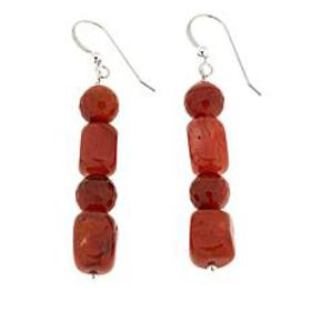 Jay King Red Picante Agate Bead Drop Sterling Silv