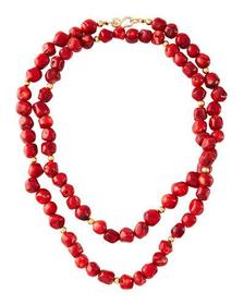 Kenneth Jay Lane Dark Coral Bead Necklace 42L