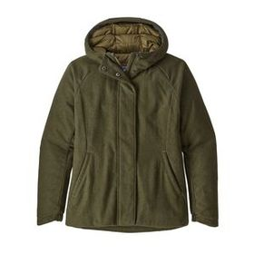 W's Insulated Recycled Wool Hoody, Fatigue Green (