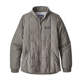 Girls' Quilted Bomber Shacket, Feather Grey (FEA)