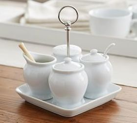 Pottery Barn Great White Coffee Condiment Set