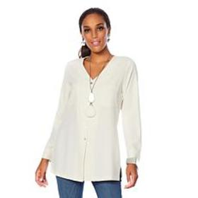 MarlaWynne Stretch Crepe Front Pocket Tunic