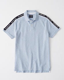 Logo Tape Stretch Polo, LIGHT HEATHER BLUE