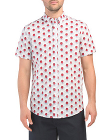 BEN SHERMAN Short Sleeve Floral Check Print Shirt