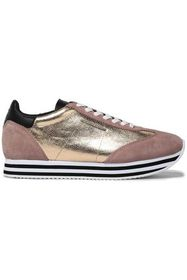 REBECCA MINKOFF Metallic textured-leather and sued