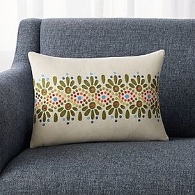 "Crate Barrel Carmen Multicolored Pillow 18""x12"""