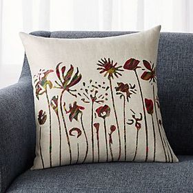 Crate Barrel Casella Embroidered Floral Pillow 18""