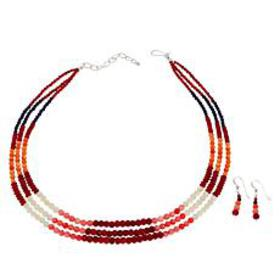 Jay King Multi-Color Coral and Lapis Bead Necklace