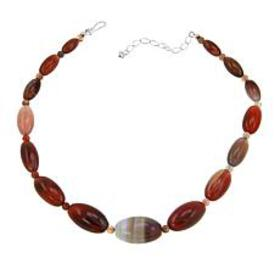 """Jay King Multicolored Chalcedony Bead 18"""" Sterling"""